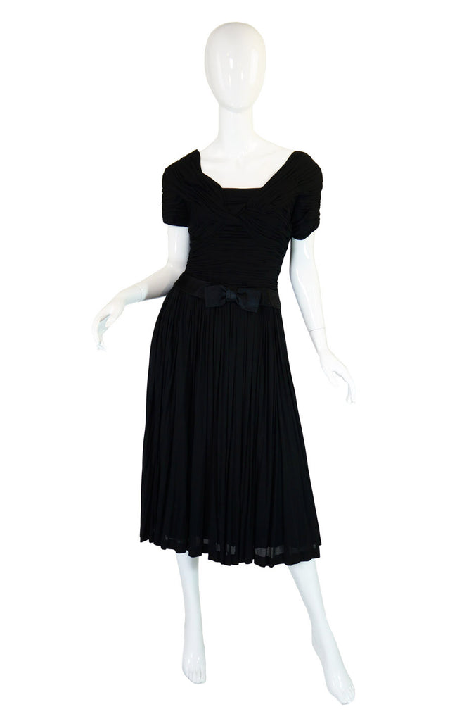 1950s Couture Level Silk Jersey Dress
