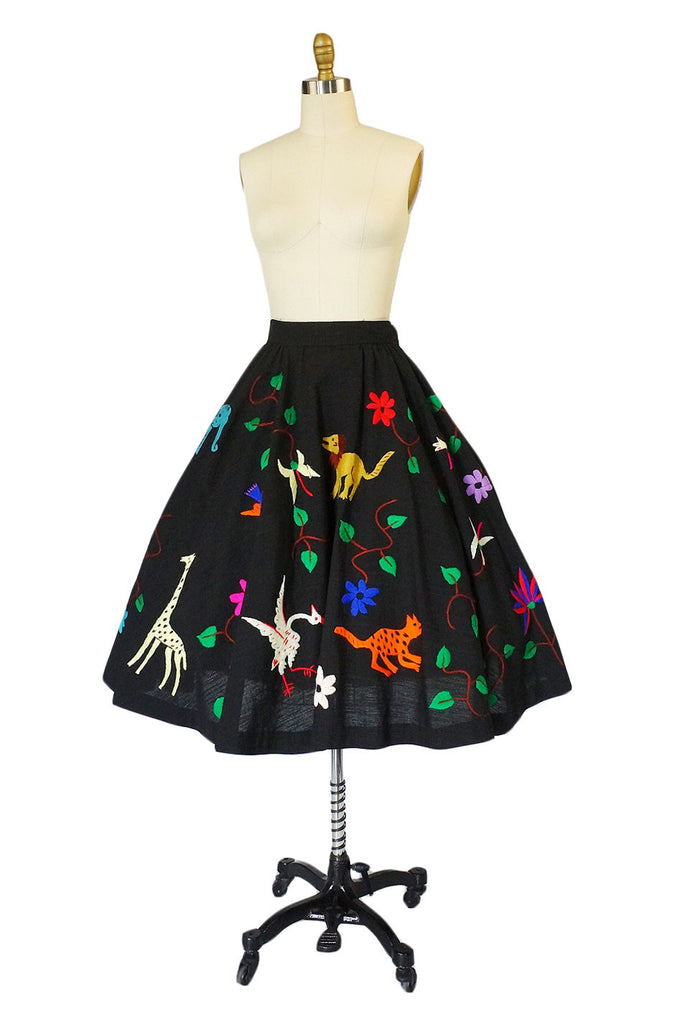 1950s Embroidered Mexican Castillo Skirt