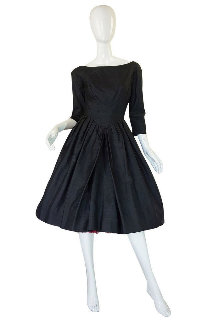 1950s Full Skirted Black Silk Dress