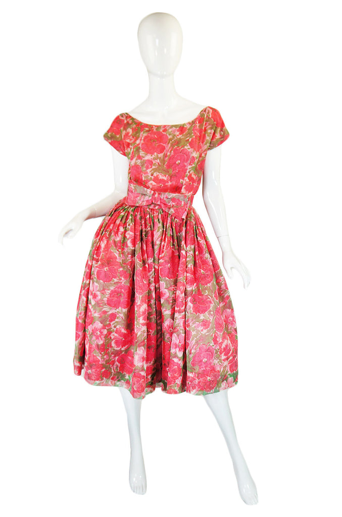 1950s Gigi Young Pink Floral Dress