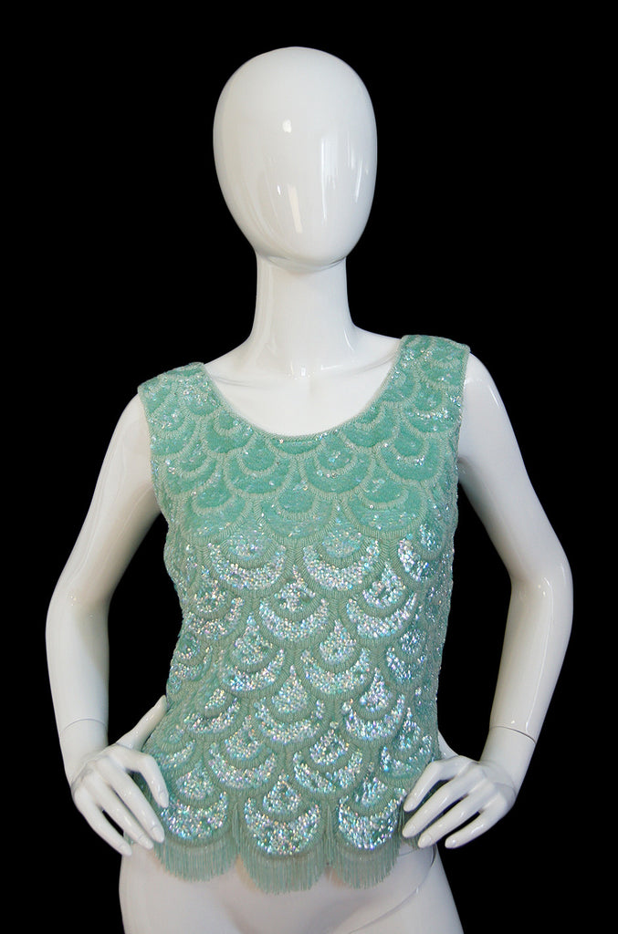 1960s Pale Green Sequin & Fringe Top