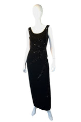 1950s Hand Beaded Knit Star Burst Gown
