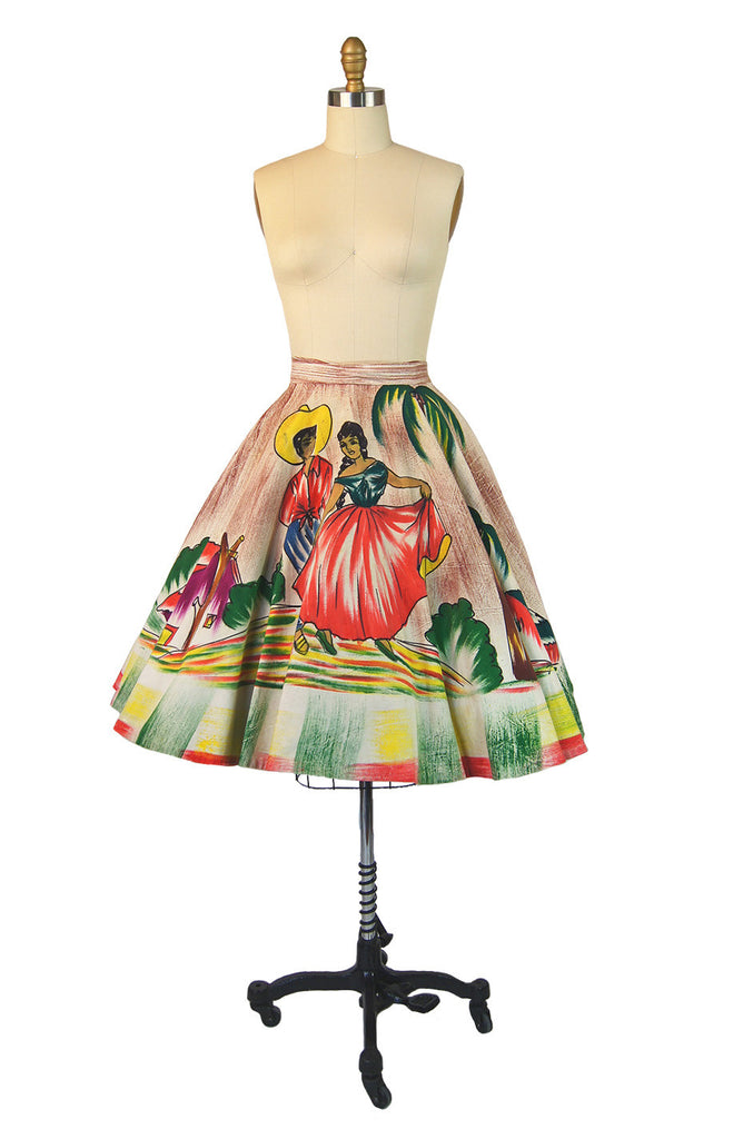 1950s Hand Painted Dancing Couple Skirt