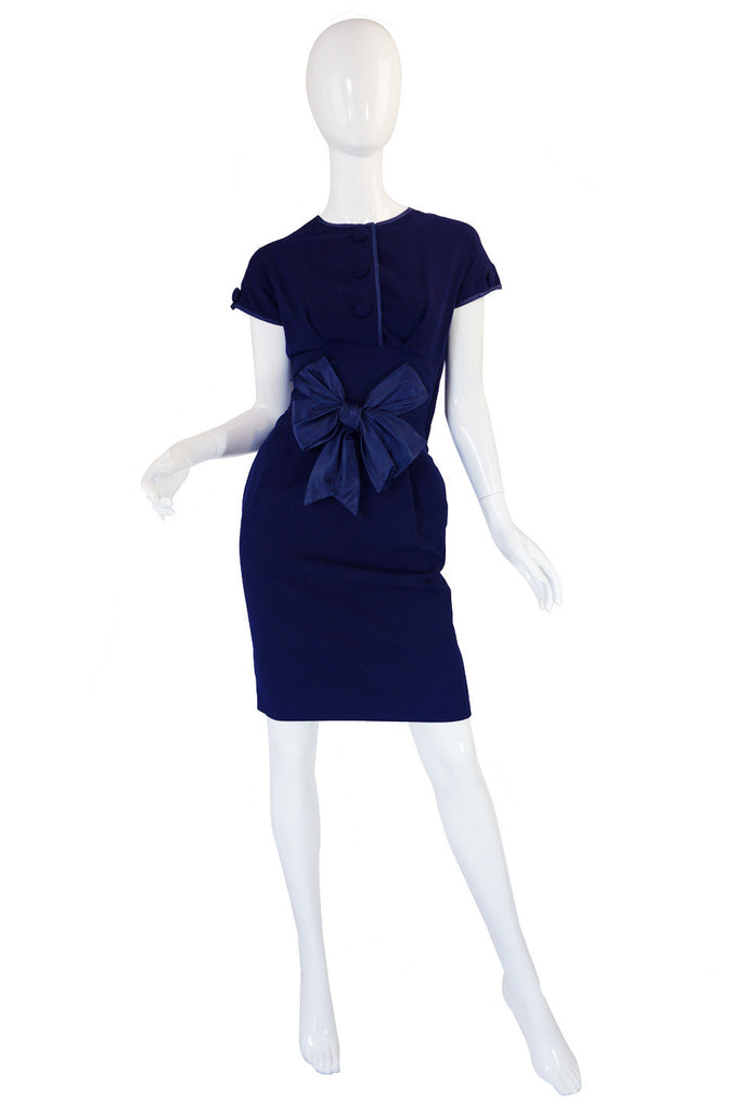 1950s Rare Hardies Amies Navy Bow Suit