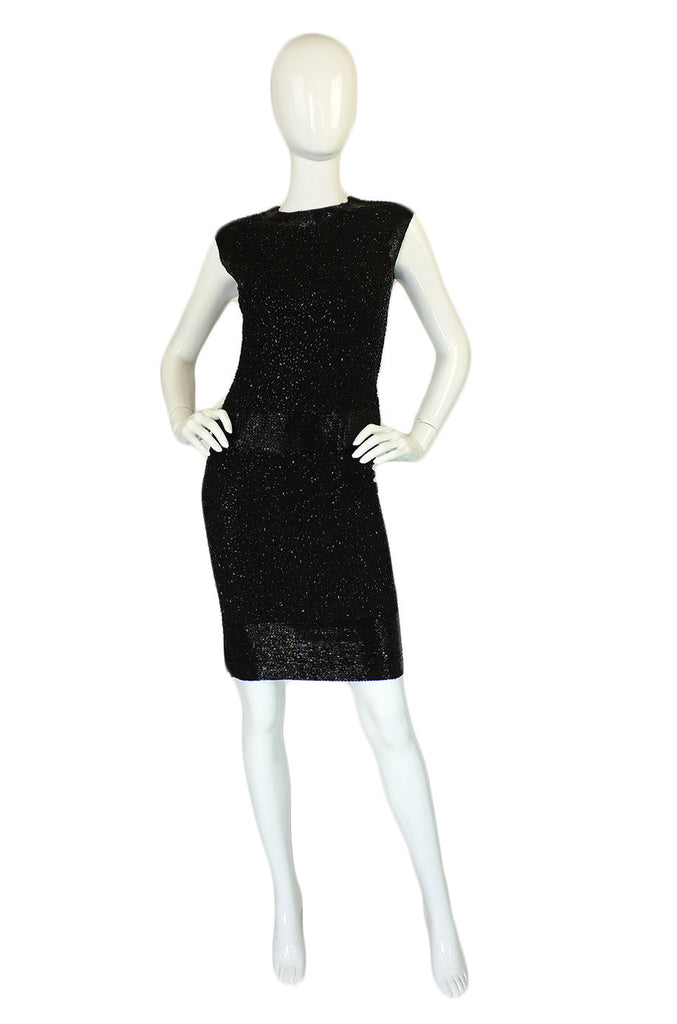 1950s Heavily Beaded Amelia Gray Dress