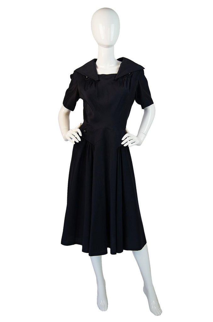 1950s Rare Jacques Fath Silk Day Dress