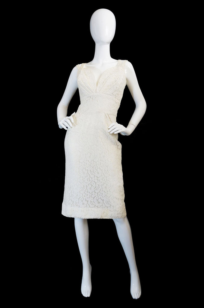 1950s White Lace Vixen Wiggle Dress