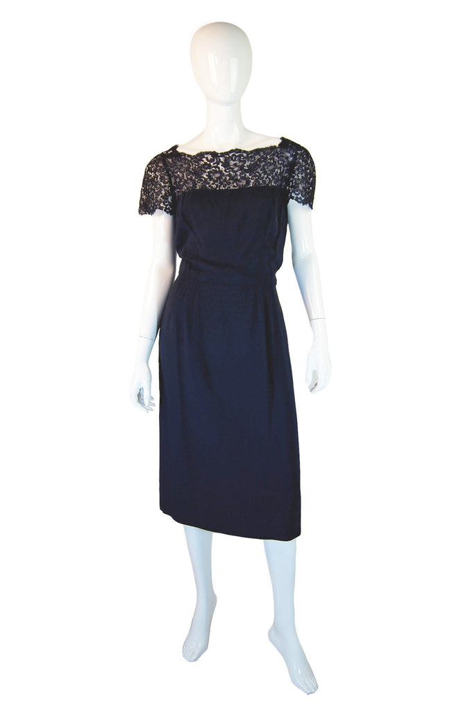 1950s Sublime Lace & Silk Navy Dress