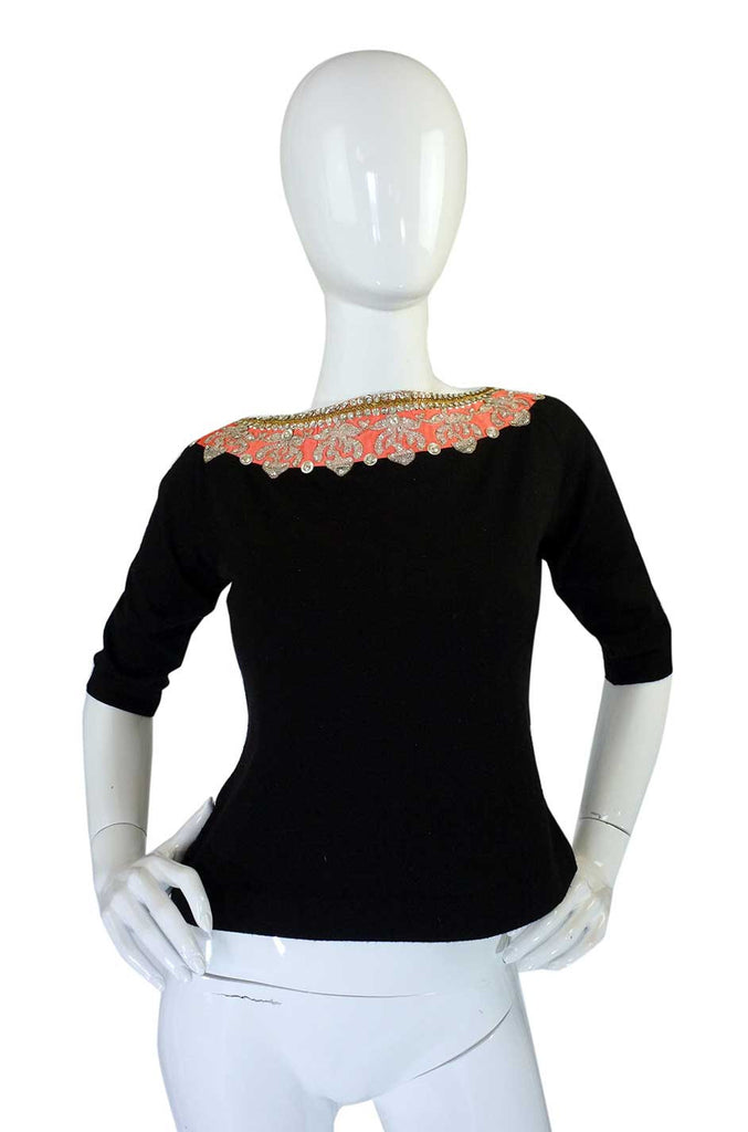 1950s Lanvin Attributed Embellished Top