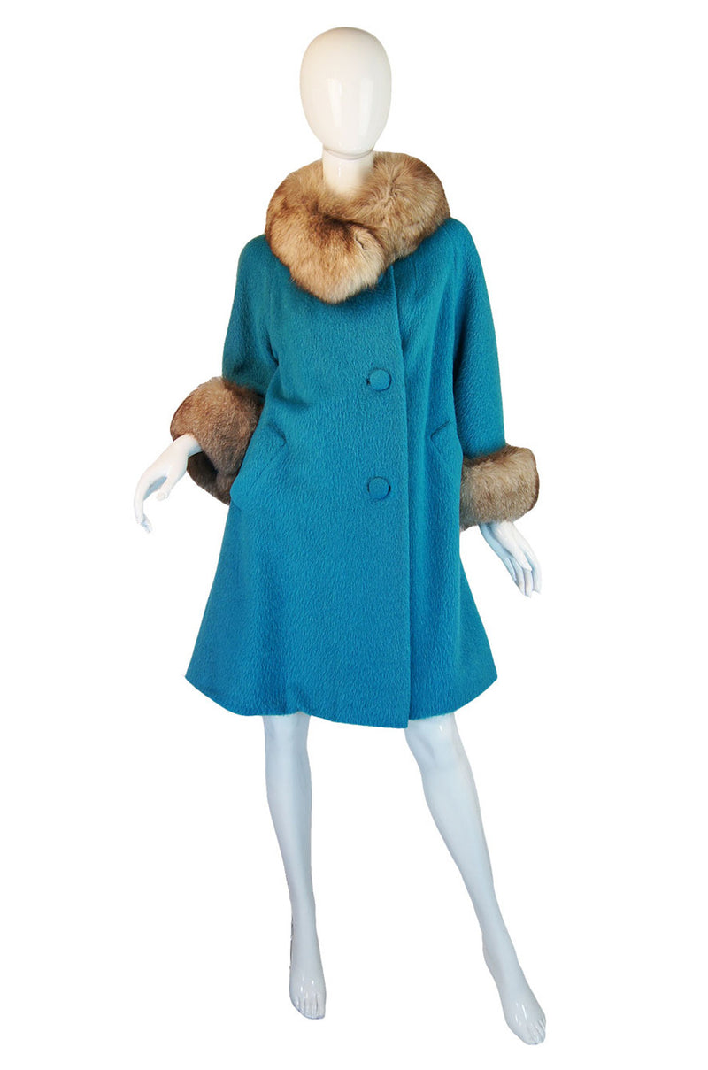 1950s Lilli Ann Blue & Fox Fur Coat
