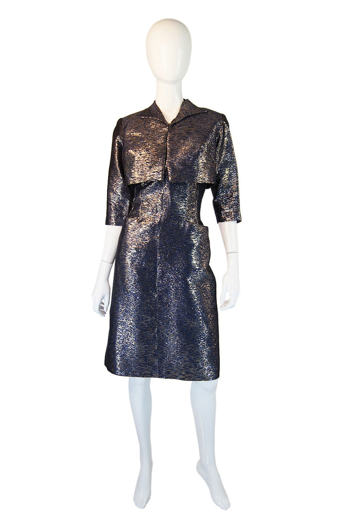 1950s Metallic Blue Wiggle Dress & Jacket