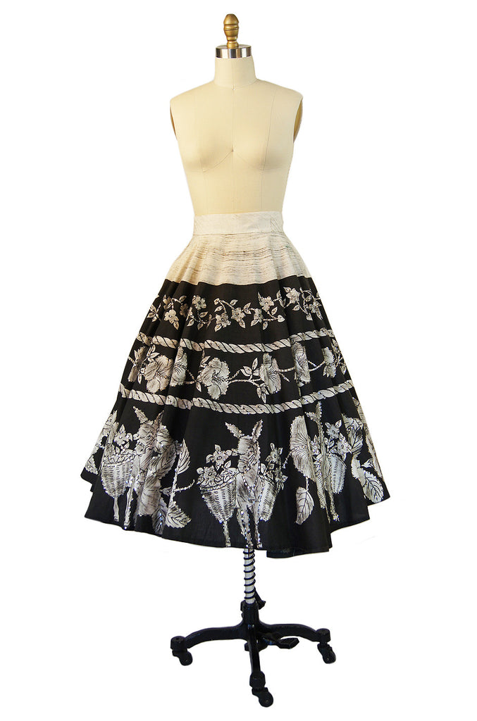 1950s Sequin Donkey Mexican Skirt