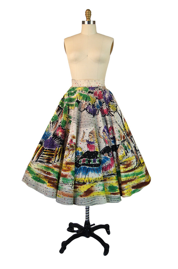 1950s Painted & Sequined Mexican Skirt