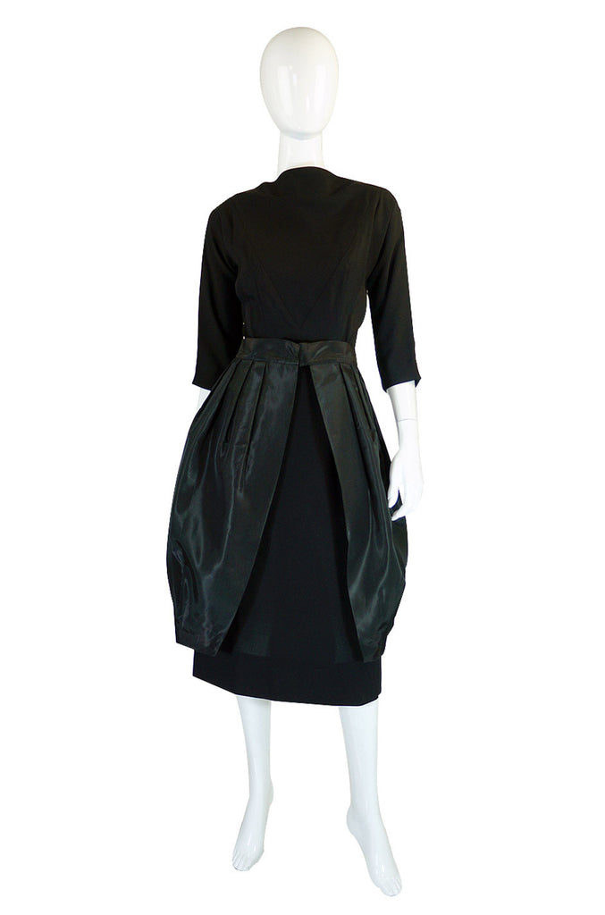 1950s Paul Sachs Dress w Silk Overskirt