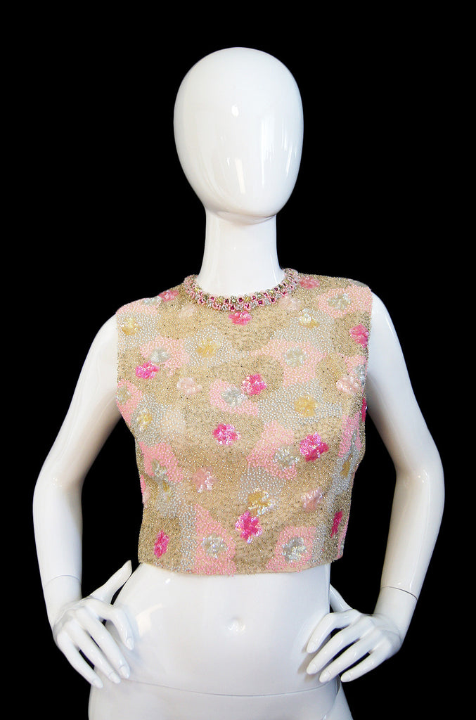 1960s Pin Up Bead & Sequin Crop Shell