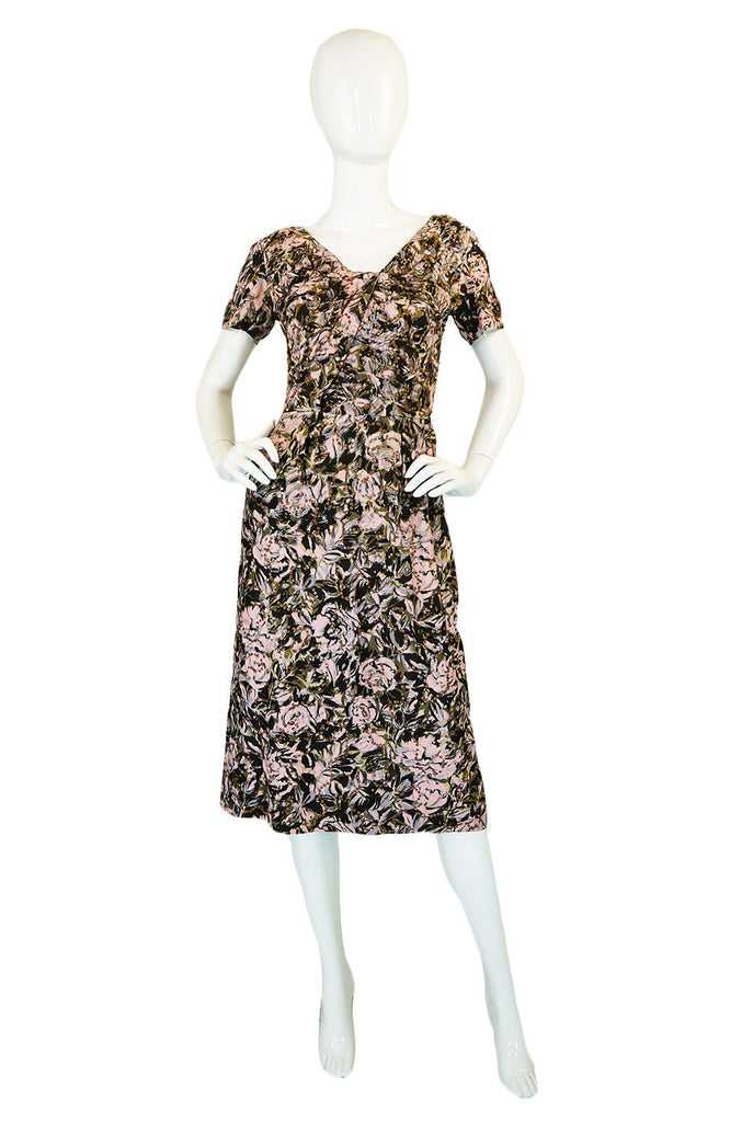 1950s Pink Print Silk and Sequin Dress