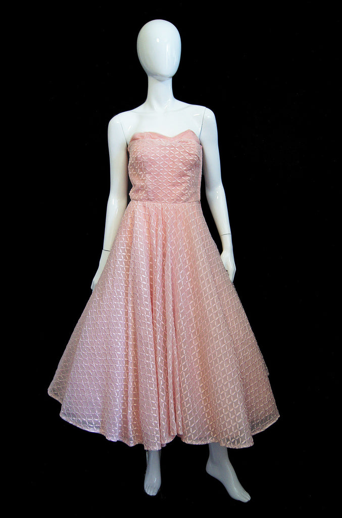 1950s Pink Embroidered Strapless Dress