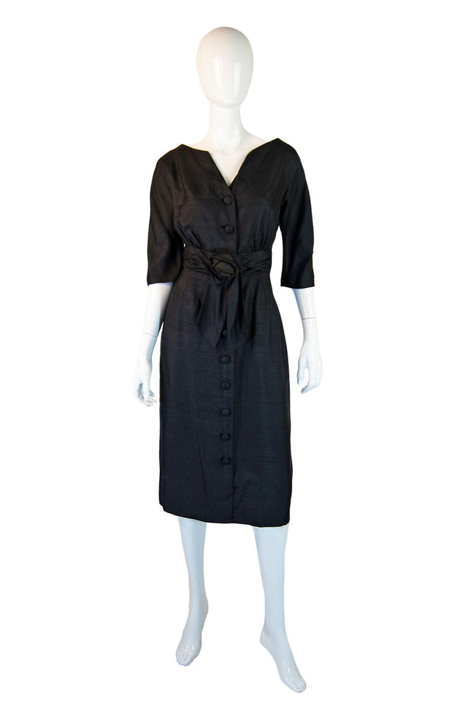1950s Pretty Raw Silk Black Day Dress