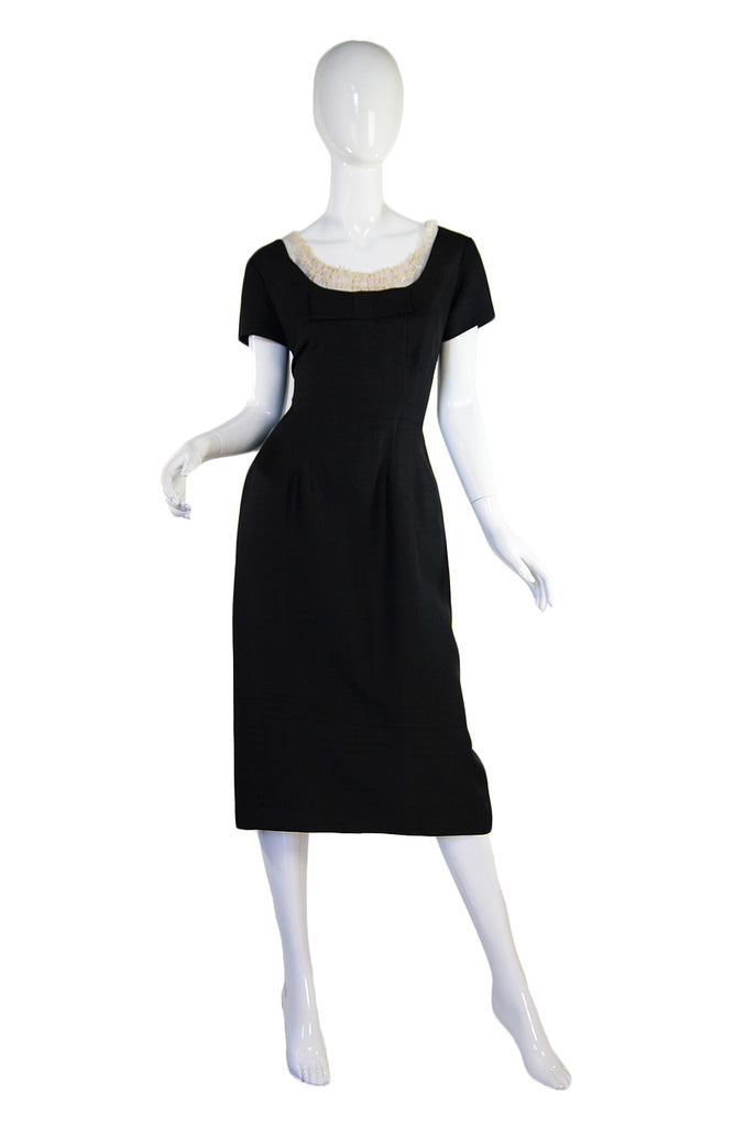 1950s Ruffled Bodice LBD Wiggle Dress