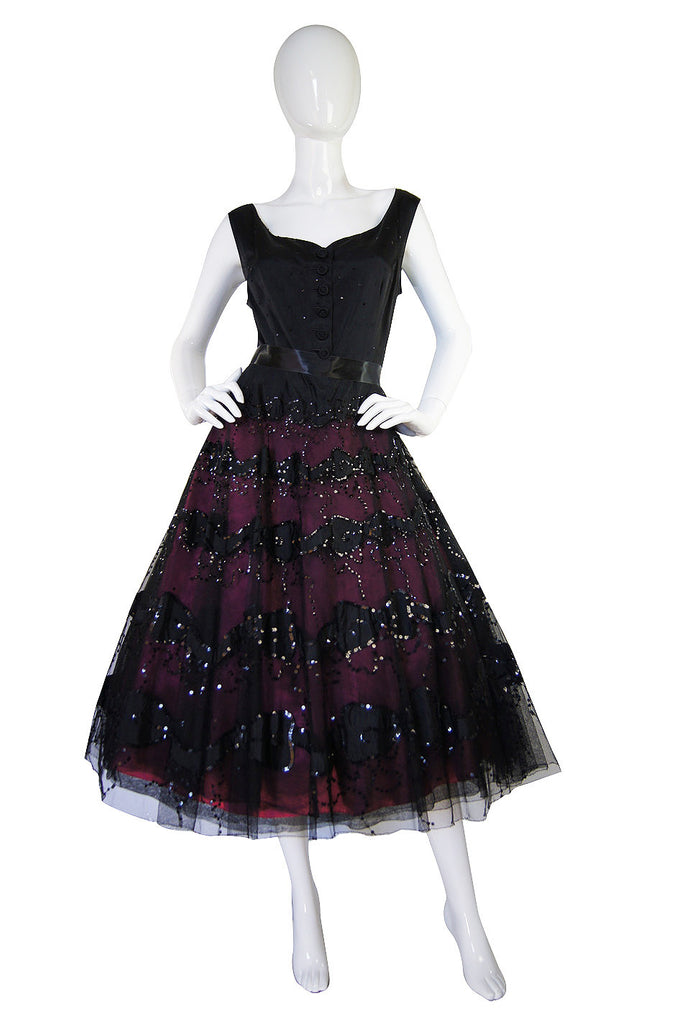 1950s Larger Sequin & Pink Skirted Dress
