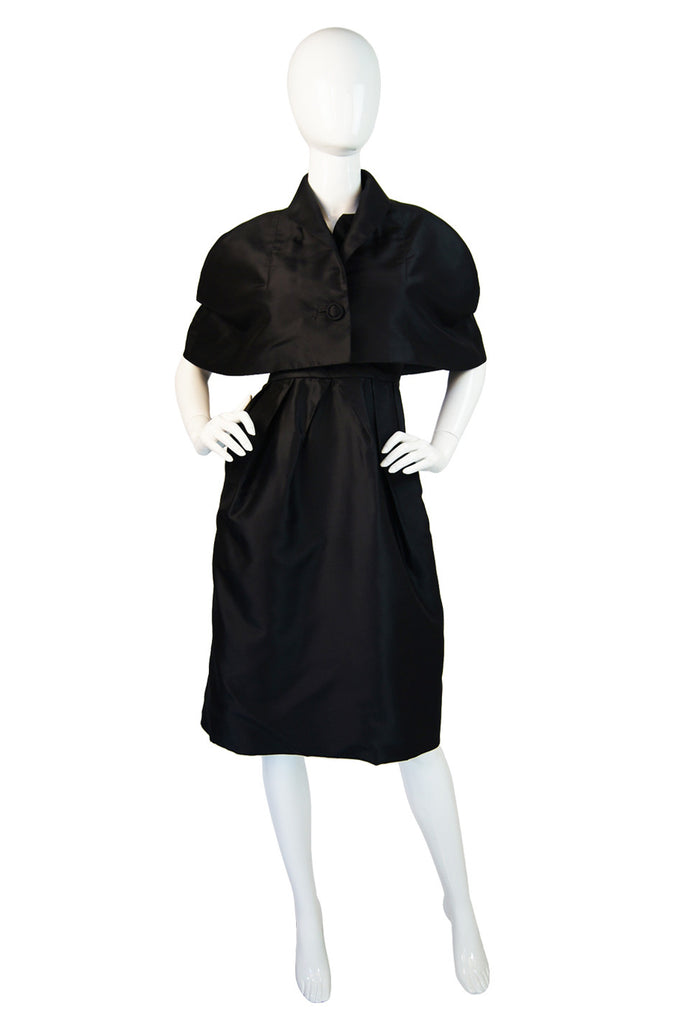 1950s Scupltural Silk Dress & Capelet Set