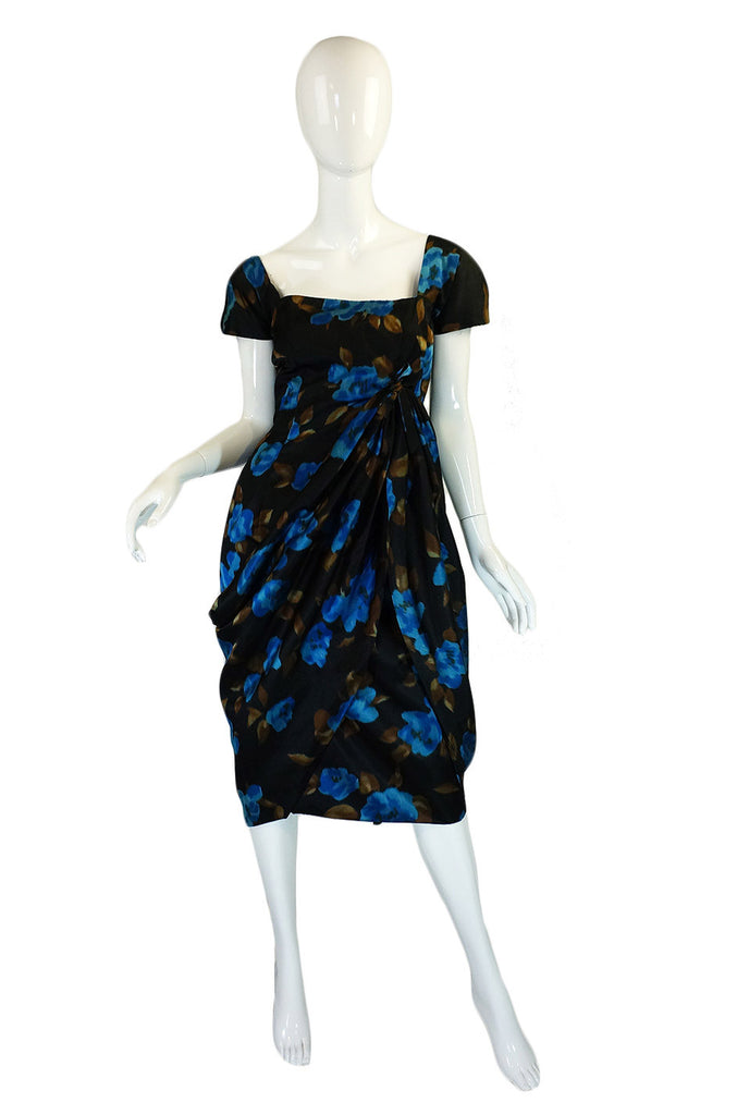 1950s Maurice Original Draped Silk Dress