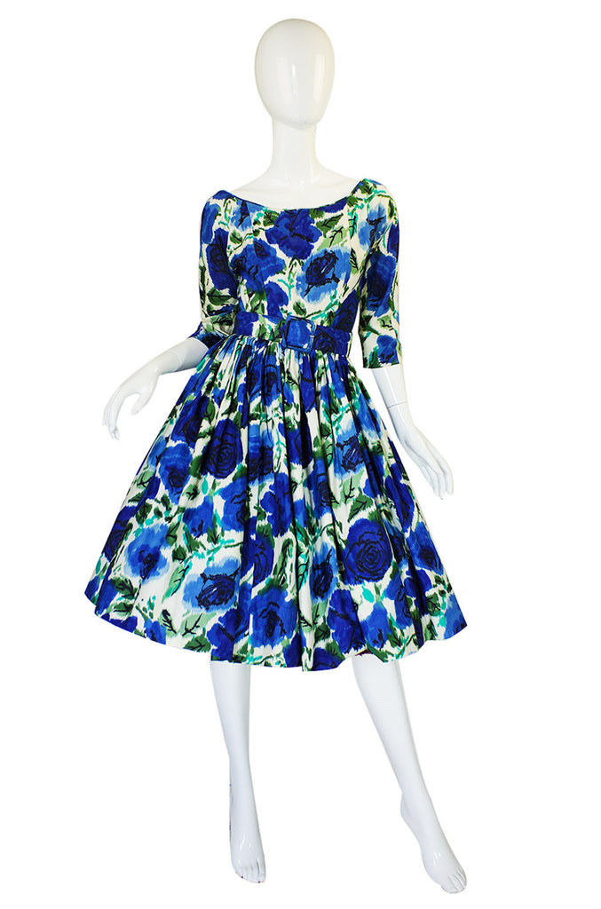 1950s Suzy Perette Blue Floral Dress