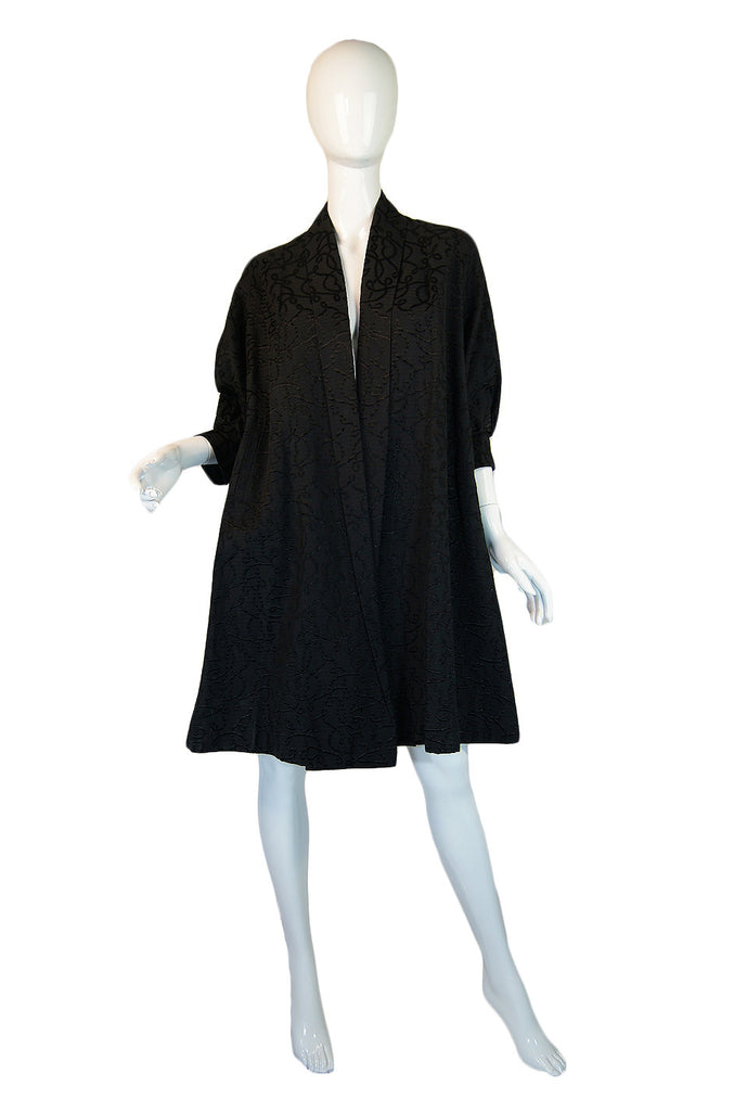 1950s Textured Black Opera Tent Coat