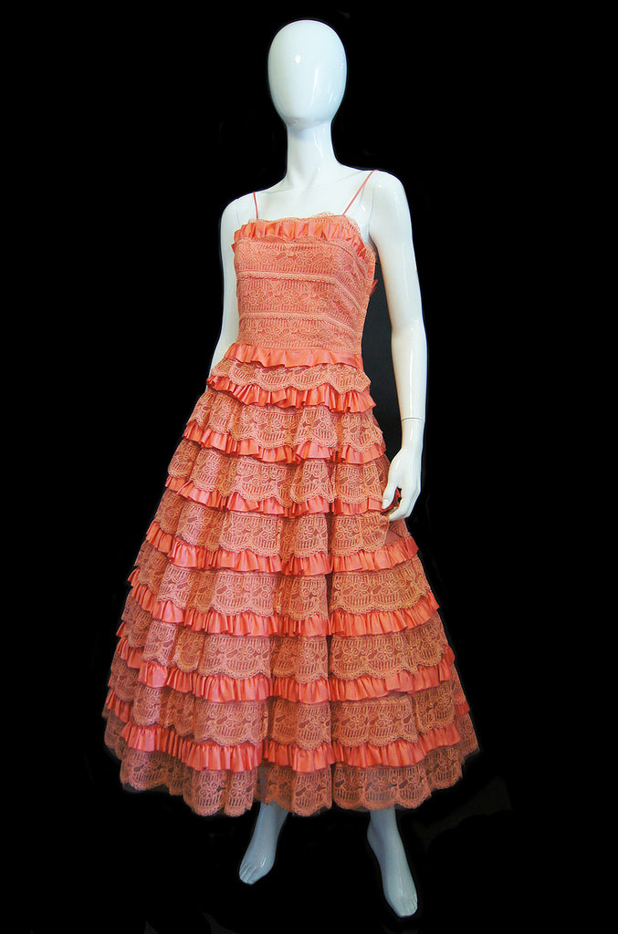1950s Tiered Lace Coral Dress