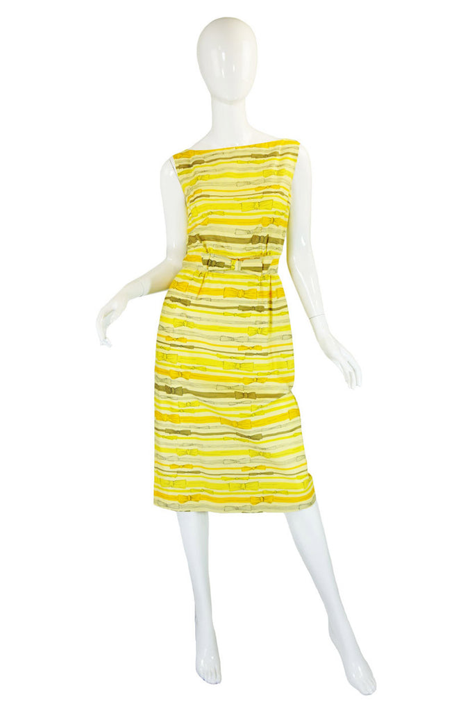 1950s Helen Whiting Yellow Bow Dress