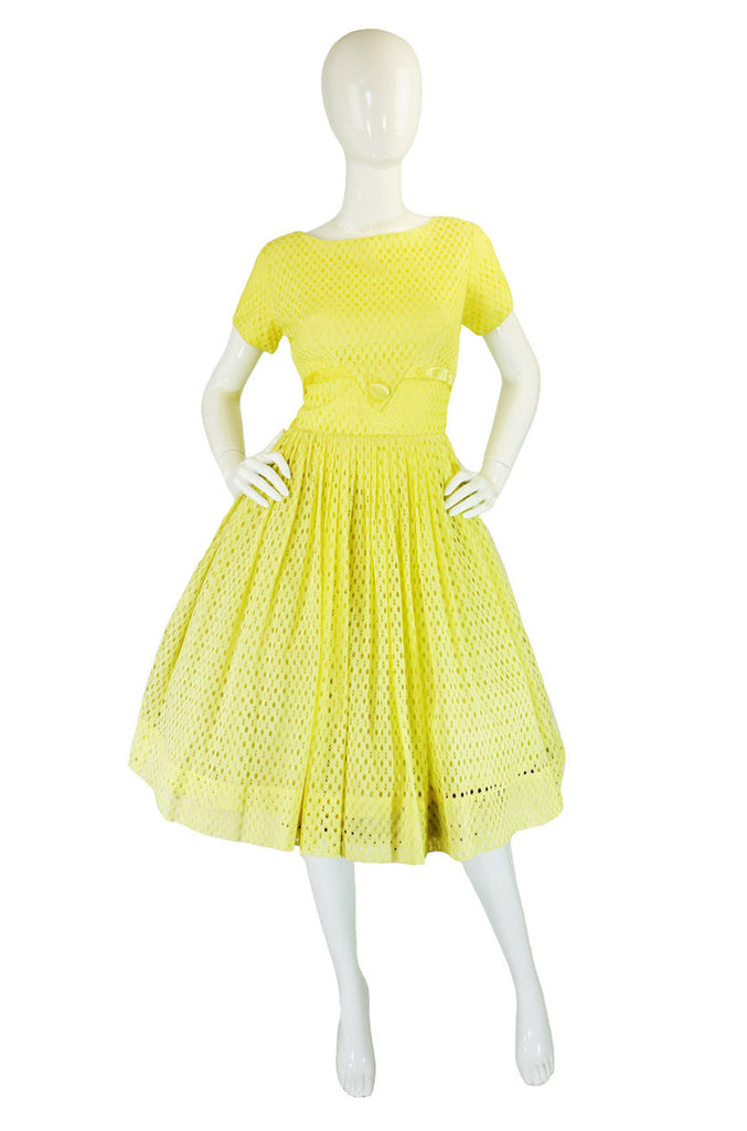 1950s Yellow Eyelet Full Skirted Sundress