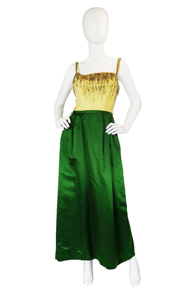 1950s Hand Beaded & Silk Satin Gown