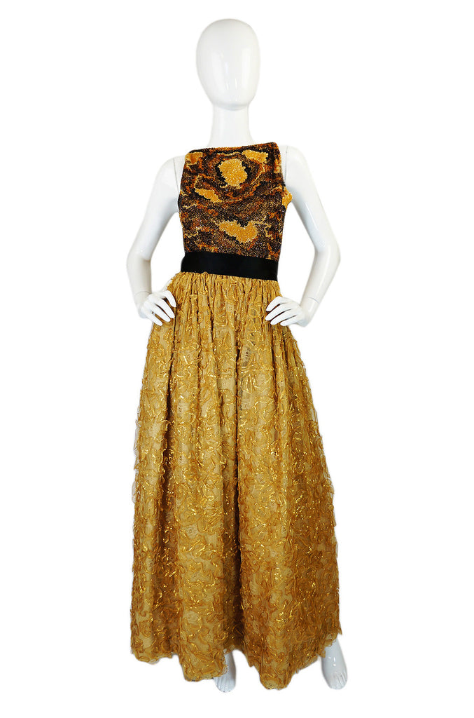 1960s Neiman Marcus Gold Beaded Gown