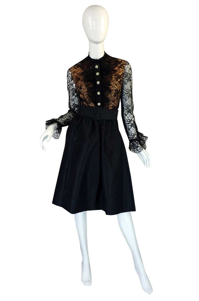 1960s Geoffrey Beene Lace & Silk Dress