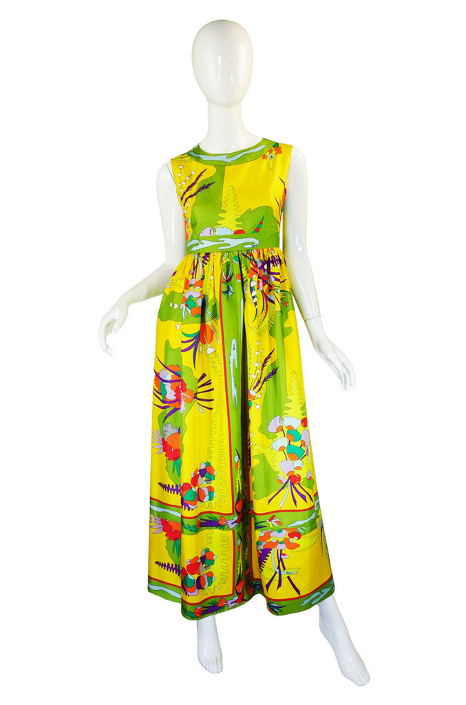 1960s Bessi Silk Printed Maxi Dress
