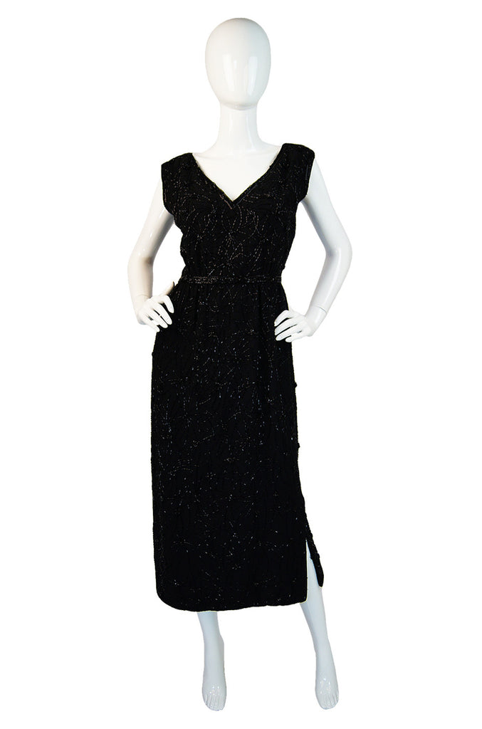 1960s Black Silk Beaded Malcolm Starr