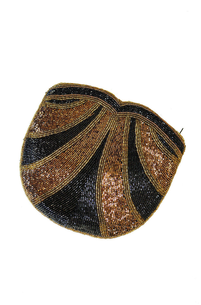 1960s Black & Bronze Beaded Clutch