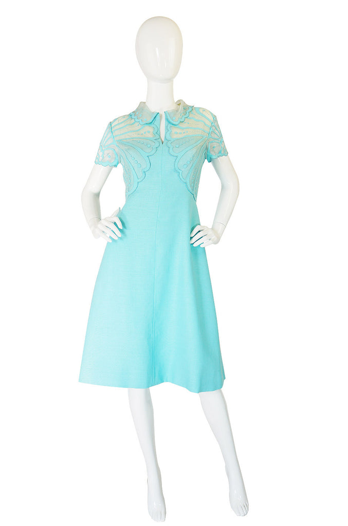 1960s Applique Organza & Linen Dress