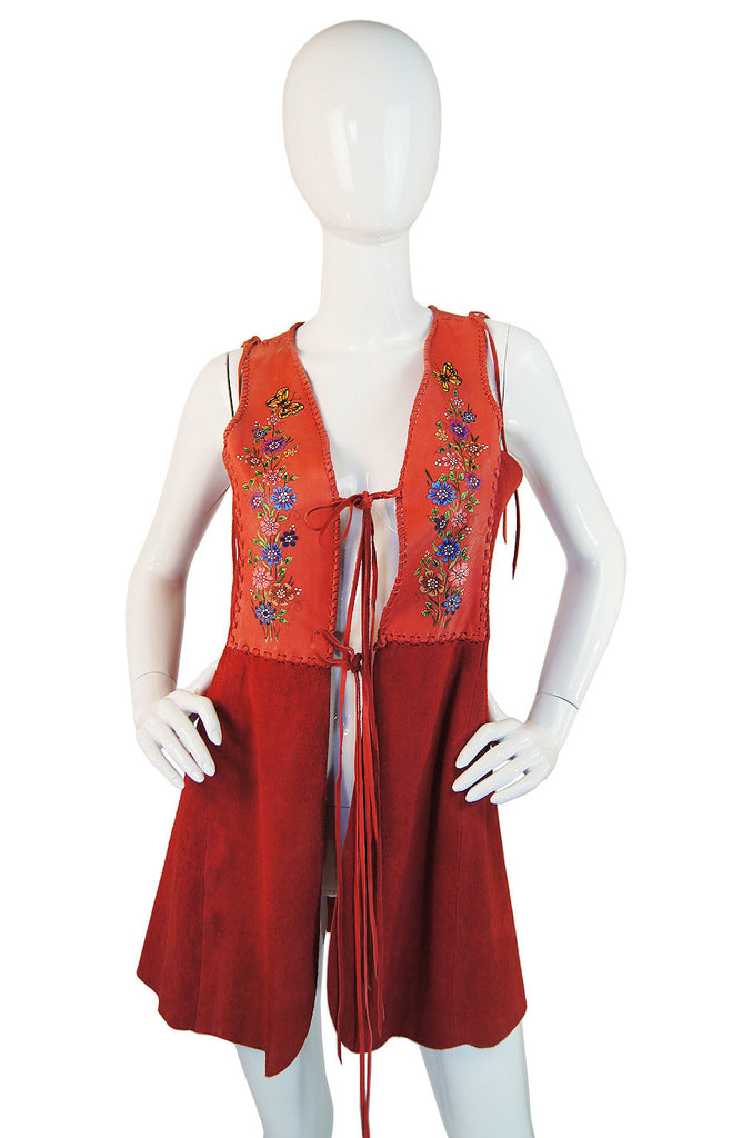 Rare 1970s Coral Suede Painted Char Vest