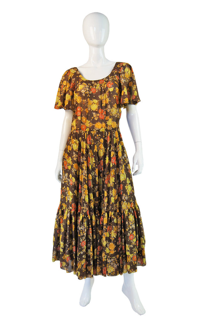 1960s Chiffon & Lame Dress