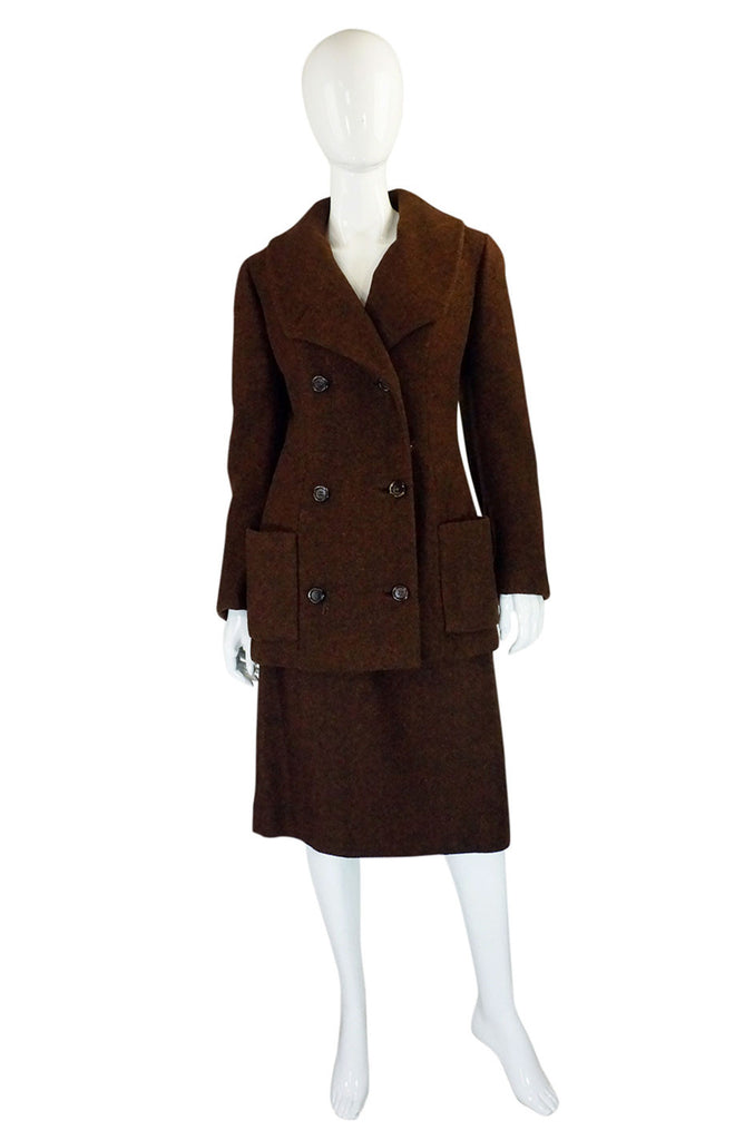 1960s Christian Dior Brown Wool Suit