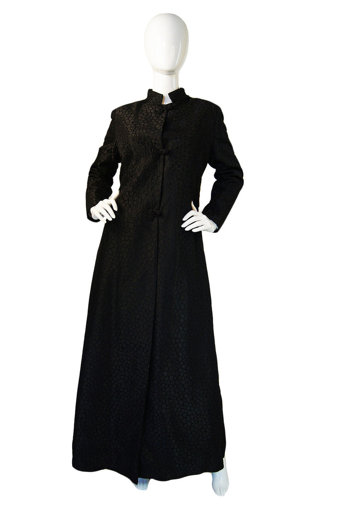 1960s Black Silk Brocade Maxi Coat