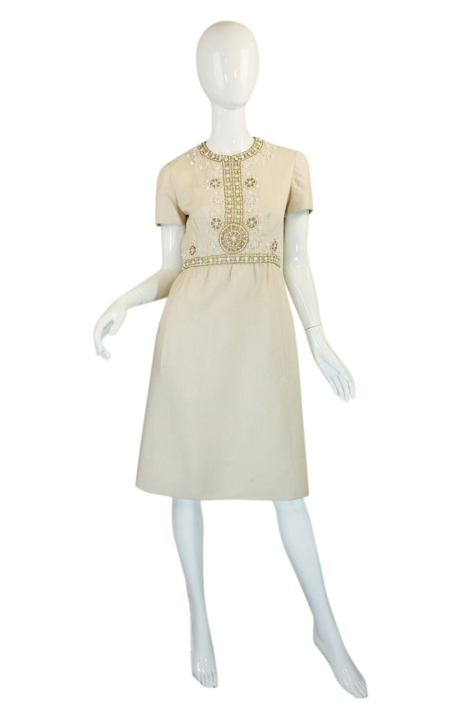 1960s Cream Beaded Malcolm Starr Dress