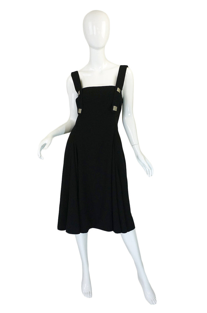 1960s Crepe & Rhinestone Galanos Dress