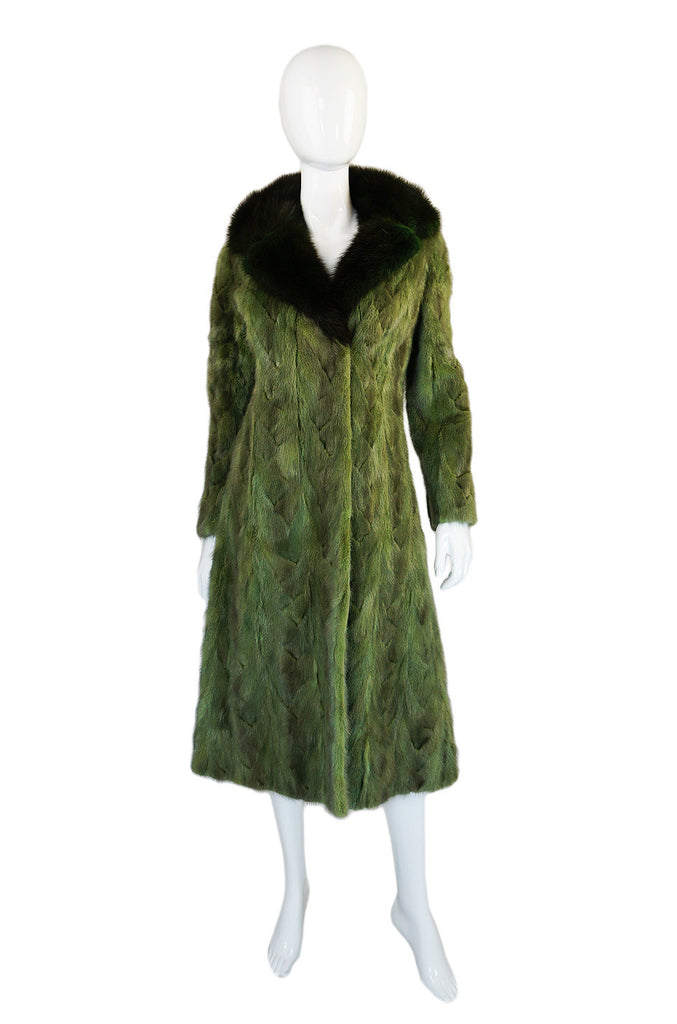 1960s Hand Dyed Green Beaver Coat