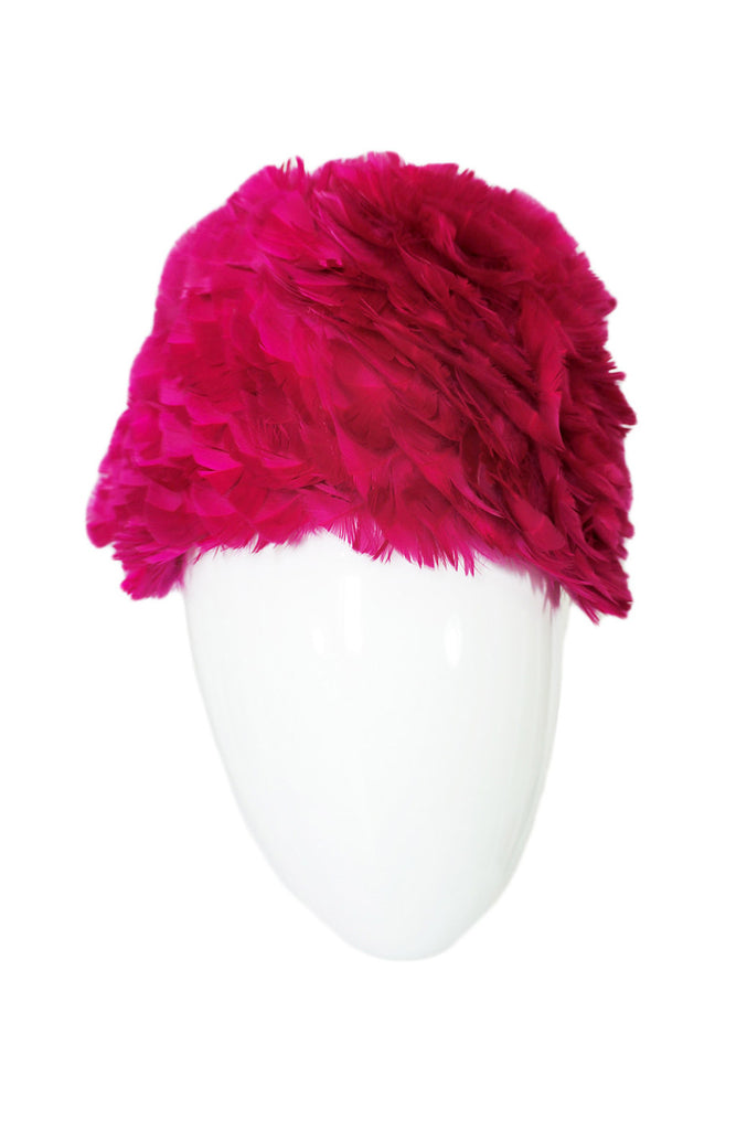 1960s Amazing Feathered Hot Pink Hat