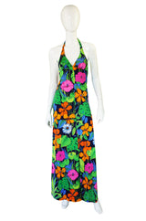 1960s Floral Halter Beach Maxi Dress
