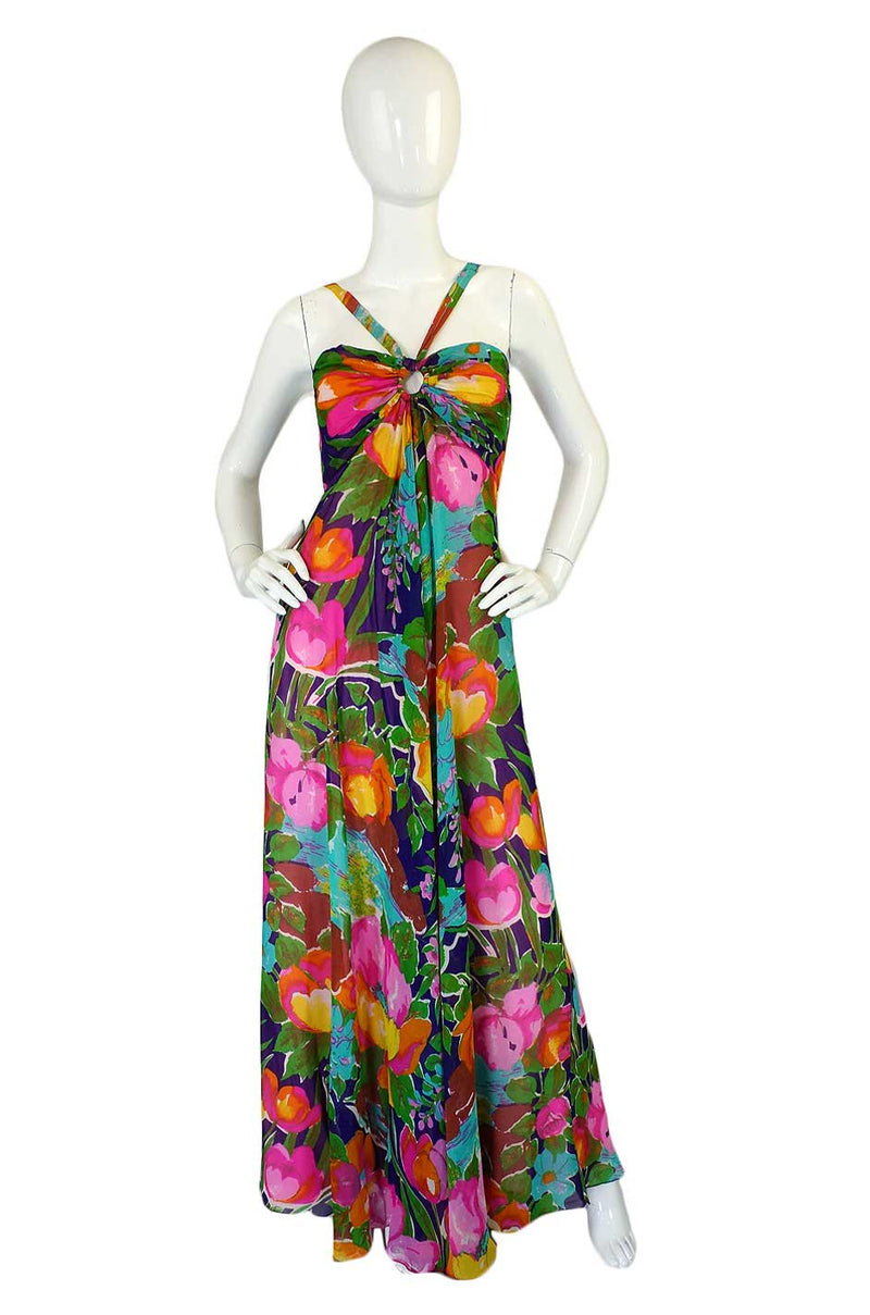 1960s Fred Perlberg Halter Silk Dress