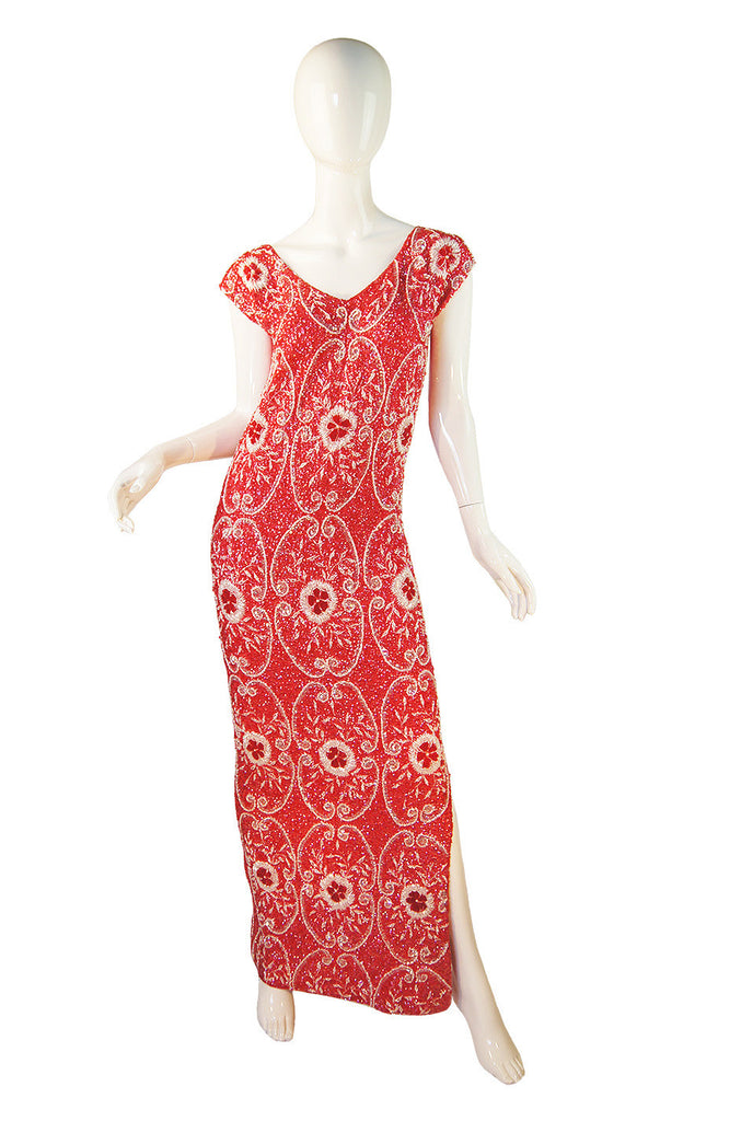 1960s Fully Beaded & Sequin Pink Gown