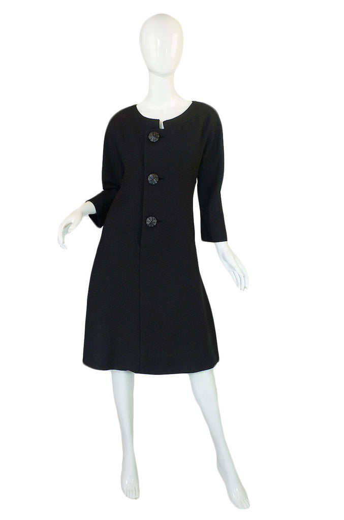 1950s Galanos Black Structured Dress